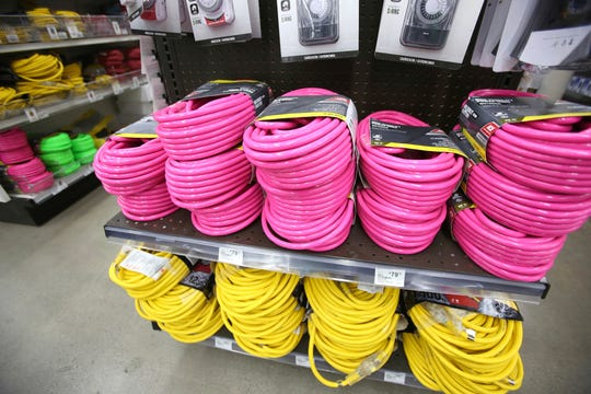 Extension cords of all gauges and lengths stock the shelves at B&C Ace hardware, Tuesday, Nov. 19, 2019, in Grass Valley, Calif., in anticipation of the next public safety power shutdowns.