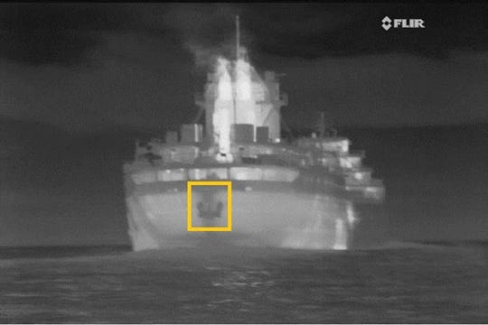 Enbridge Energy has increased its use of support vessels in the Straits of Mackinac to monitor passing ships for inadvertent anchor deployments through imagery such as this taken from one of the support vessels in the Straits.