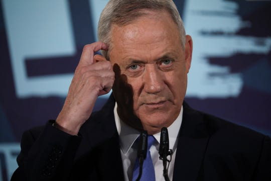 Blue and White party leader Benny Gantz addresses media in Tel Aviv,Israel. Wednesday, Nov. 20, 2019. Gantz has failed to form a new government by a deadline, dashing his hopes of toppling the long-time Israeli prime minister Netanyahu and pushing the country closer toward an unprecedented third election in less than a year