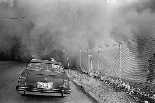 """Demolition for GM Poletown Plant"" by Don Hudson, in ""100 Photographs: Detroit 1970-1990"" at the CCS Center Galleries."