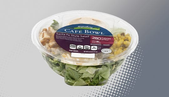 The Signature Farms Cafe Bowl, along with 75,000 pounds of other salad products that contain meat or poultry, are being recalled because the lettuce may be contaminated with a strain of E. coli.