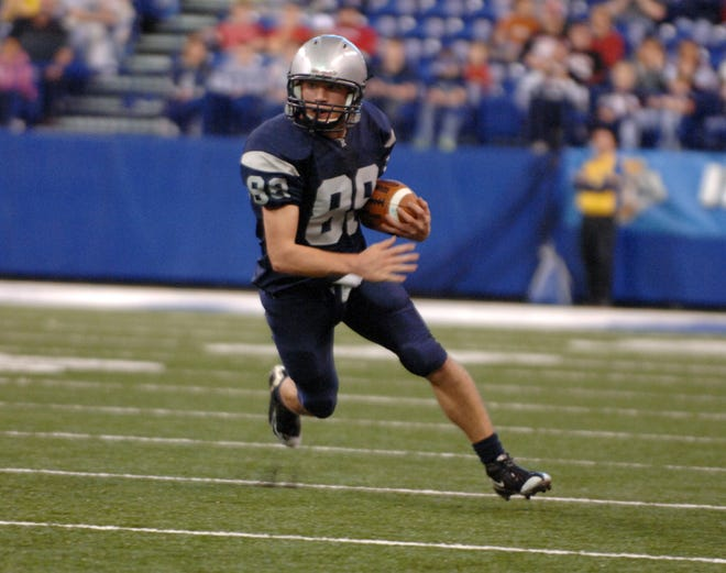 Cuda Dimmett finds an opening on a punt return in the first quarter of Reitz's 23-9 victory over Lowell in the 2009 Class 4A state championship game at Lucas Oil Stadium in Indianapolis.