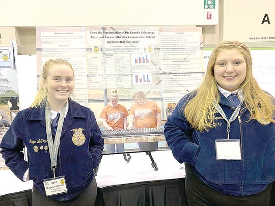 Matisyn Howell (left) and Megan LoPresto, both four-year members of the Jonesville FFA Chapter, not counting their junior high school years.