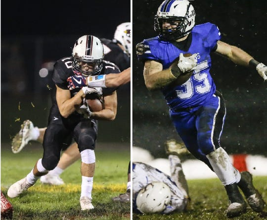 Could Fond du Lac High School and St. Mary's Springs Academy football teams ever face off. Pictured are Fond du Lac's River Reifsnider, left, and St. Mary's Springs Academy's Marcus Orlandoni, right, competing in games during the 2019 season.