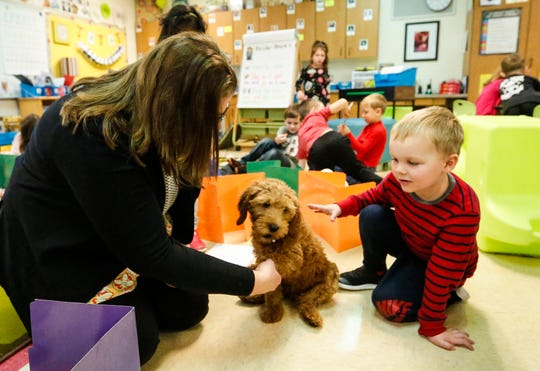 Kindergarten teacher Carrie Naparalla and student Colter Reinsch interact with Shelby, a therapy dog in training Thursday, Nov. 21, 2019, at Journey Charter School in Ripon Wis.