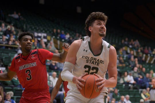 Colorado State basketball player Nico Carvacho goes for a shot during a game against Arkansas State at Moby Arena on Wednesday, Nov. 20, 2019.