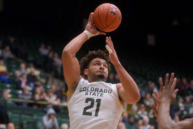 Colorado State basketball player David Roddy shoots during a game against Arkansas State at Moby Arena on Wednesday, Nov. 20, 2019.
