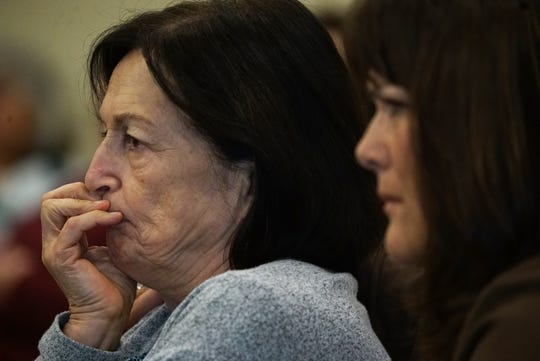 From left, Teresa Sievers' mother, Mary Ann Groves, and sister Ann Lisa, listen to testimony from Curtis Wayne Wright Jr. in Mark Sievers' trial on Thursday, Nov. 21, 2019, at the Lee County Justice Center in Fort Myers.