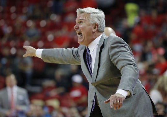 Kansas State coach Bruce Weber motions to players during overtime of a game against UNLV on Nov. 9, 2019, in Las Vegas.