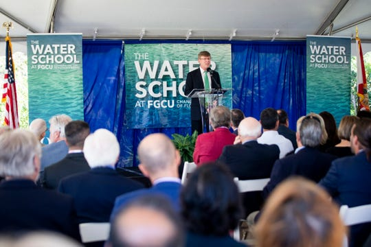 The Water School Director Greg Tolley speaks during the groundbreaking of The Water School at Florida Gulf Coast University in Estero on Thursday, Nov. 21, 2019.