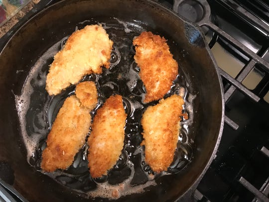 Pan fried wild turkey tenders.