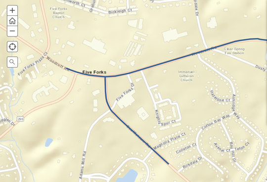 An SCDOT map shows which portions of Woodruff and Scuffletown Roads will be widened near Five Forks.