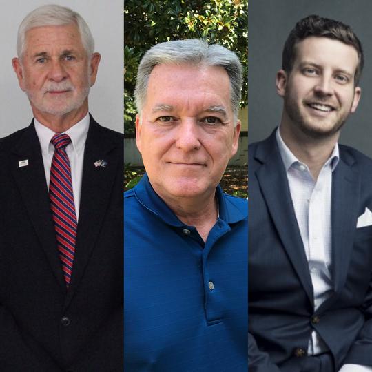 Mauldin, Simpsonville and Fountain Inn Mayors-Elect Terry Merritt (left), Paul Shewmaker and GP McLeer.