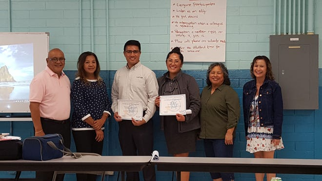 Appreciation: Coast 360 Federal Credit Union CEO, Gener Deliquina and Marketing Manager, Tia Borja presented the Banzai Financial Literacy during Guahan Academy Charter School's professional development day on Nov. 12. From left: Kenneth Chargualaf, GACS community resource support; Lourdes San Nicolas, GACS community resource support; Deliquina, Borja, Mary Mafnas; Dean of Elementary Guahan Academy Charter School and Lynda Hernandez-Avilla; Dean of Secondary Guahan Academy Charter School.