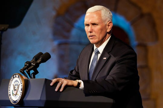 Vice President Mike Pence delivers remarks to the Strada Education Network's National Symposium Welcome Reception in Indianapolis, Wednesday, Nov. 20, 2019.