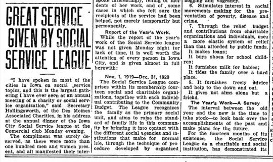 Before it changed its name to United Way, the organization was founded 100 years ago as the Social Service League, as seen in this Jan. 19, 1921, Press-Citizen edition.