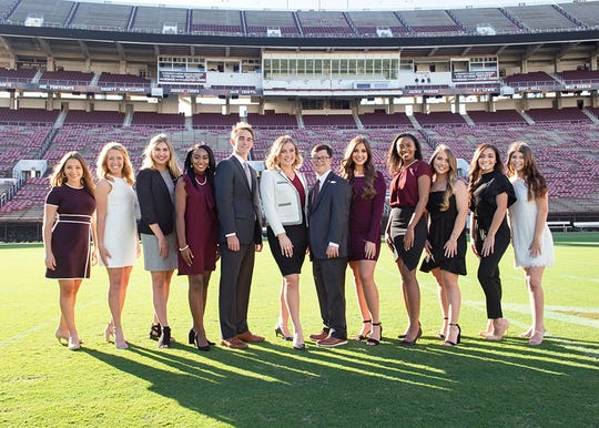Mississippi State University's 2019 Homecoming Court includes, from left, Emmie Perkins, Lauren Cotten, Claire Hamblen, Katelyn Jackson, Mr. MSU Michael Weeks, Homecoming Queen Rachel Dumke, Homecoming King Spencer Kirkpatrick, Miss MSU Reagan Moak, Ava Richardson, Kelli Gill, Karlee Mott and Aubrey Diefenthal.