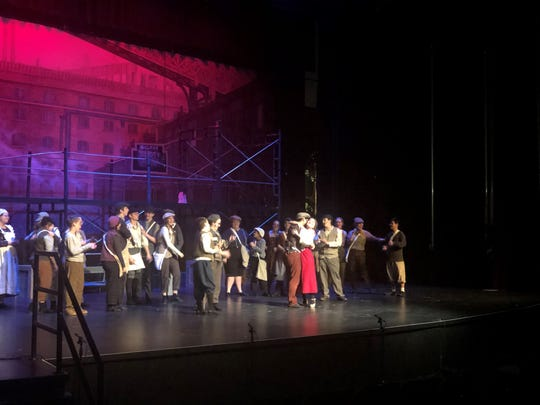 "Sacred Heart students rehearse the music, choreography, lighting and set designs for their production of ""Newsies."" Some St. Mary's students also participated in the production."