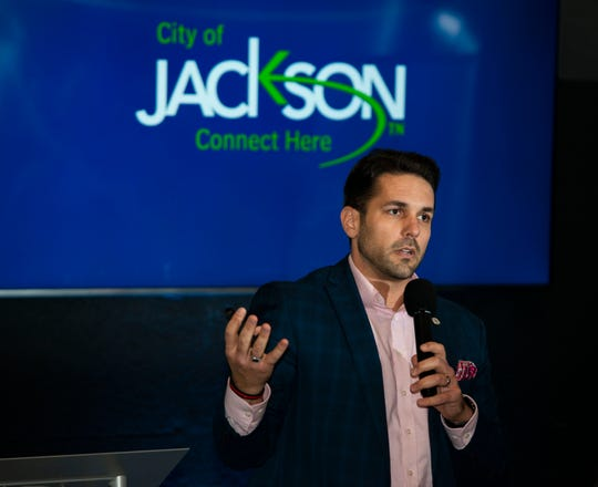 Jackson Mayor Scott Conger addresses young professionals on Nov. 21, 2019.