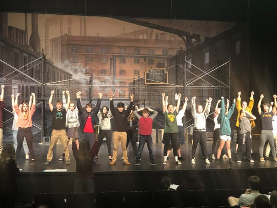 "Sacred Heart and St. Mary's students rehearse dance scenes of ""Newsies"" Wednesday night. They will perform "" Thursday and Friday at 7 p.m. and Saturday at 1 p.m. at the NED theater."
