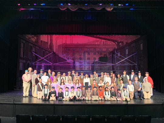 """Newsies"" cast photo of Sacred Heart of Jesus High School students and St. Mary's Catholic School students"