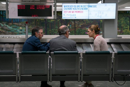 "Director Paul Harrill discusses a scene with actors David Cale and Marin Ireland while filming ""Light From Light"" at Knoxville's McGhee Tyson Airport."