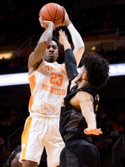 Tennessee guard Jordan Bowden (23) attempts a shot during Tennessee's basketball game against Alabama State at Thompson-Boling Arena in Knoxville, Tenn., on Wednesday, November 20, 2019.