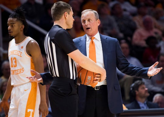 Tennessee Head Coach Rick Barnes speaks with a referee during Tennessee's basketball game against Alabama State at Thompson-Boling Arena in Knoxville, Tenn., on Wednesday, November 20, 2019.