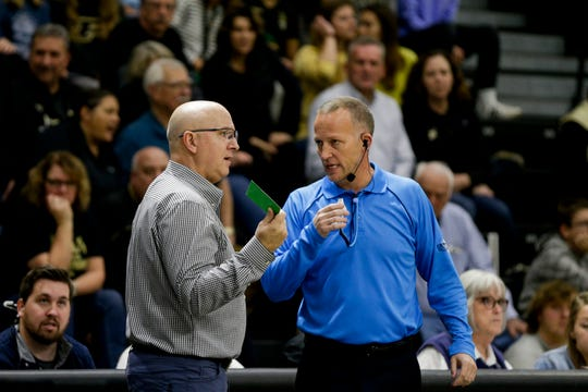 Purdue head coach Dave Shondell challenges a call during the first set of a NCAA women's volleyball game, Wednesday, Nov. 20, 2019 at Holloway Gymnasium in West Lafayette.
