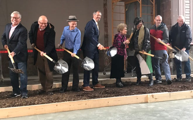 State and West Lafayette officials turned shovels of mulch Thursday afternoon in the ceremonial ground breaking of the Margerum City Hall in West Lafayette's Morton Center. Once renovated, the city hall will bear the name of former six-term West Lafayette Mayor Sonya Margerum, who died earlier this month.