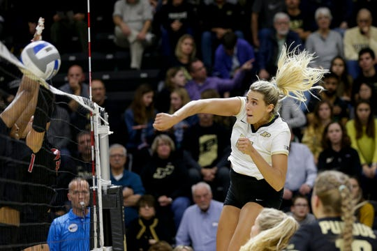 Purdue middle blocker Blake Mohler (17) spikes the ball during the second set of a NCAA women's volleyball game, Wednesday, Nov. 20, 2019 at Holloway Gymnasium in West Lafayette.