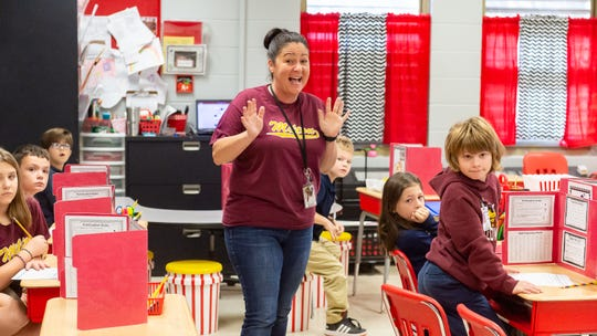 Heather Desormeaux reacts to being informed by the  LEF Pin Patrol that they have been nominated for the LEF Teacher Awards. Thursday, Nov. 21, 2019.