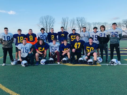 While Bloom-Carroll's offense has been outstanding, the Bulldogs' defense has made some huge plays during the playoffs and will look to do the same when they face Licking Valley in a Division IV, Region 15 final at 7 p.m. Saturday at DeSales High School. Members of Bloom-Carroll's defense are, front row, left to right: Paul Joos, Joe Hatem, Damion Fugate, Kole Wickline, Luke Ferrel and Aiden Kirby. Second row, L-R: Clay Dozer, Cody Harmon, Hobie Scarberry, Beau Wisecarver, Caleb Swartz, Trace Wisecarver, Jacob Lucas, Josh Evans, Brandon Totten, Drew Angelo and Eli Coppess.