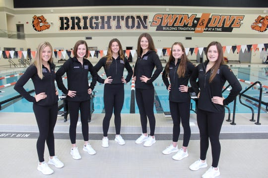 Brighton's state swimming qualifiers are (left to right) Lindsey Witte, Victoria Schreiber, Gabby Mainhardt, Ania Bodyl, Drue Thielking and Kayla McCall.