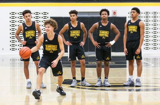 Clarksville's starting five will be, from left, Dae'Von Fuqua, Jaren Starks, Dakota Capps, Keyshawn Minor and Marquis Forward leading the Generals in the 2019-2020 basketball season. Nov. 20, 2019