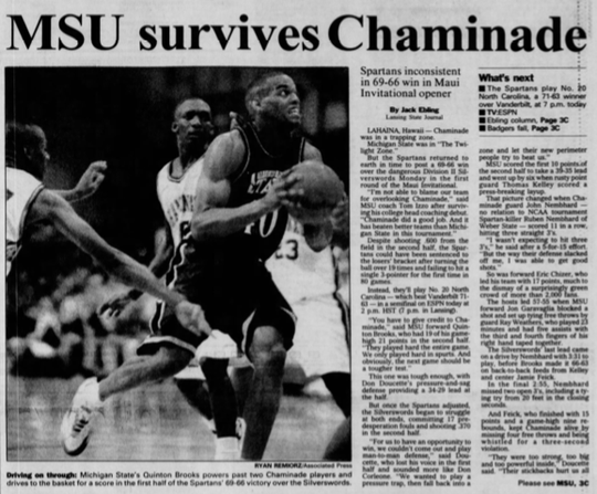The Nov. 21, 1995 Lansing State Journal told the story of MSU's escape from Chaminade in Tom Izzo's first game, written by Jack Ebling.