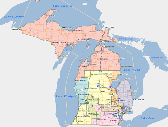 Michigan's 14 Congressional Districts