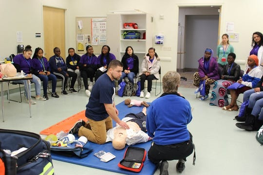 Students from Lansing schools interacted with a wide array of medical professionals across 10 different specialties of health care, including working with EMS workers