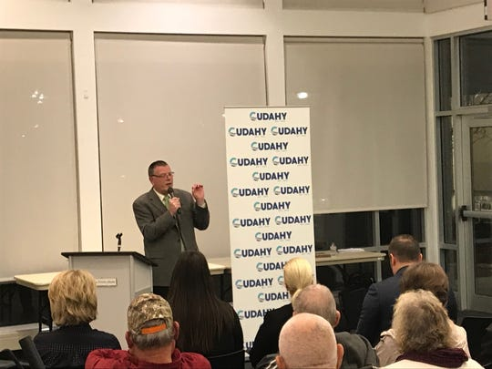 Mayor Thomas Pavlic discusses Cudahy's rebranding along with revealing the new city logo on Nov. 20 at the Cudahy Family Library, 3500 Library Dr.