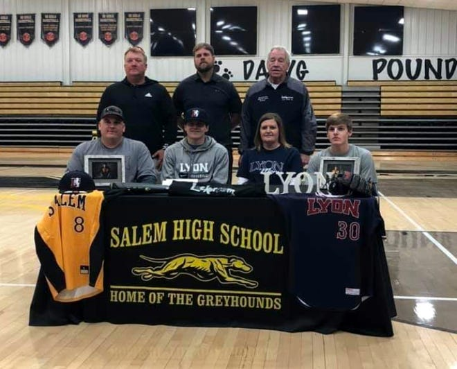 Salem's Tyler Guffey (front, second from left) recently signed to play college baseball at Lyon College.