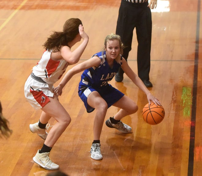 Cotter's Kaylee Crownover dribbles against Deer on Wednesday night at Flippin.