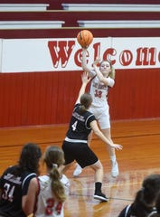 Flippin's Maelee Benedict passes inside against Mountain Home Christian Academy on Wednesday night.