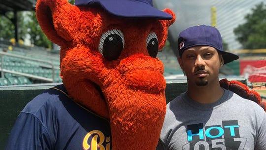 Montgomery Biscuits mascot Big Mo with DJ Frosty at Riverwalk Stadium.