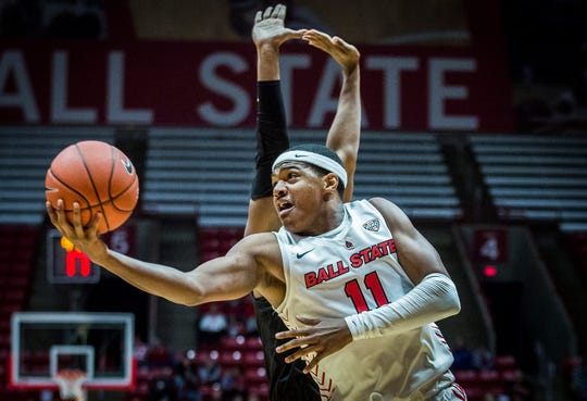 Ball State's Jarron Coleman slips past Northern Kentucky's defense during their game at Worthen Arena Wednesday, Nov. 20, 2019.