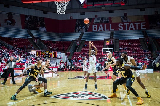 Ball State's K.J. Walton shoots a free throw against Northern Kentucky's defense during their game at Worthen Arena Wednesday, Nov. 20, 2019.