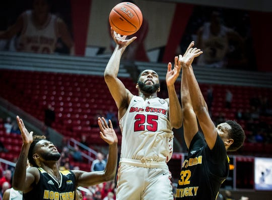Ball State's Tahjai Teague shoots past Northern Kentucky's defense during their game at Worthen Arena Wednesday, Nov. 20, 2019.