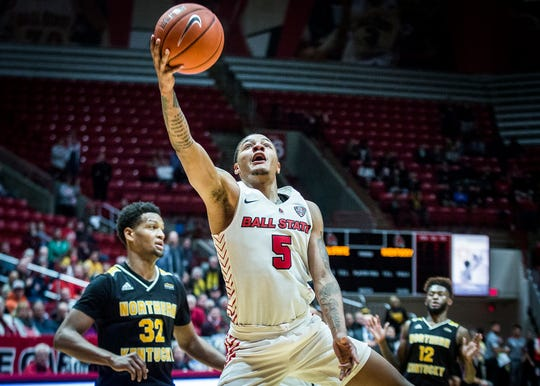 Ball State's Ishmael El-Amin competes for the Cardinals in their game against Northern Kentucky during their game at Worthen Arena Wednesday, Nov. 20, 2019.