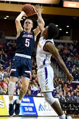 Belmont guard Adam Kunkel (5) shoots over Lipscomb guard Greg Jones (1) during the second half at Allen Arena in on Nov. 20 in Nashville.