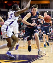 Belmont guard Grayson Murphy (2) advances into Lipscomb guard Miles Miller (25) during the second half at Allen Arena in Nashville, Tenn., Wednesday, Nov. 20, 2019.