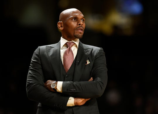 Vanderbilt head coach Jerry Stackhouse watches from the sidelines during a game against Austin Peay University on Nov. 20.